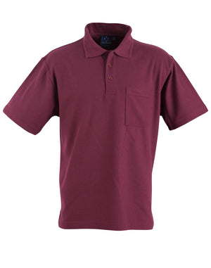 Winning Spirit-Winning Spirit Pique Knit Short Sleeve Polo (Unisex)-Maroon / XS-Uniform Wholesalers - 6