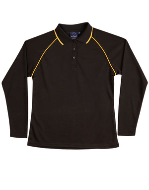 Winning Spirit-Winning Spirit Ladies' CoolDry® Raglan Long Sleeve Contrast Polo-Black/Gold / 8-Uniform Wholesalers - 2
