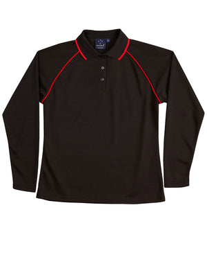 Winning Spirit-Winning Spirit Ladies' CoolDry® Raglan Long Sleeve Contrast Polo-Black/Red / 8-Uniform Wholesalers - 3