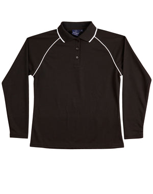 Winning Spirit-Winning Spirit Ladies' CoolDry® Raglan Long Sleeve Contrast Polo-Black/White / 8-Uniform Wholesalers - 4