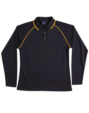 Winning Spirit-Winning Spirit Ladies' CoolDry® Raglan Long Sleeve Contrast Polo-Navy/Gold / 8-Uniform Wholesalers - 5