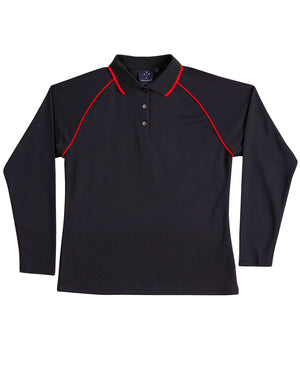 Winning Spirit-Winning Spirit Ladies' CoolDry® Raglan Long Sleeve Contrast Polo-Navy/Red / 8-Uniform Wholesalers - 6