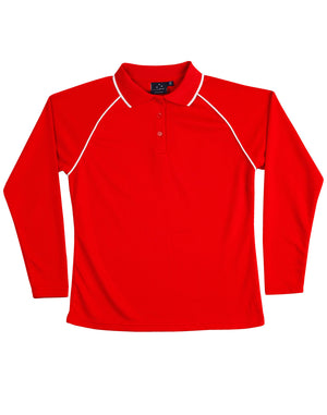 Winning Spirit-Winning Spirit Ladies' CoolDry® Raglan Long Sleeve Contrast Polo-Red/White / 8-Uniform Wholesalers - 8