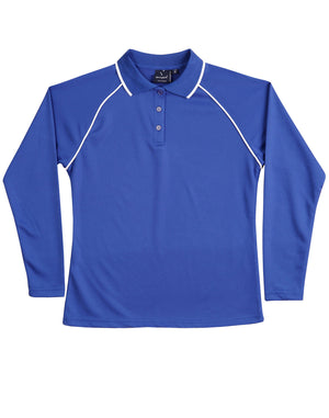 Winning Spirit-Winning Spirit Ladies' CoolDry® Raglan Long Sleeve Contrast Polo-Royal/White / 8-Uniform Wholesalers - 9