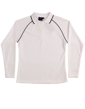 Winning Spirit-Winning Spirit Ladies' CoolDry® Raglan Long Sleeve Contrast Polo-White/Navy / 8-Uniform Wholesalers - 10