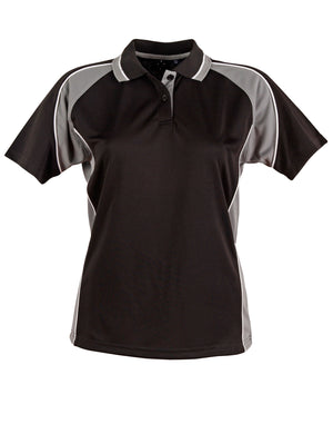 Winning Spirit-Winning Spirit Ladies' CoolDry® Short Sleeve Contrast Polo-Black/ash / 8-Uniform Wholesalers - 2