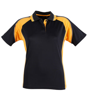Winning Spirit-Winning Spirit Ladies' CoolDry® Short Sleeve Contrast Polo-Navy/Gold / 8-Uniform Wholesalers - 3