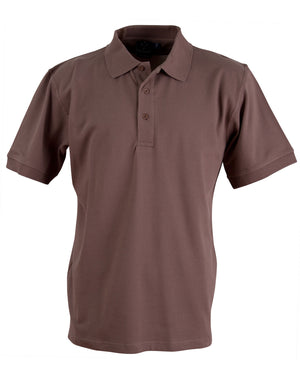 Winning Spirit-Winning Spirit Men's Cotton Stretch Short Sleeve Polo-Smoke Brown / S-Uniform Wholesalers - 9