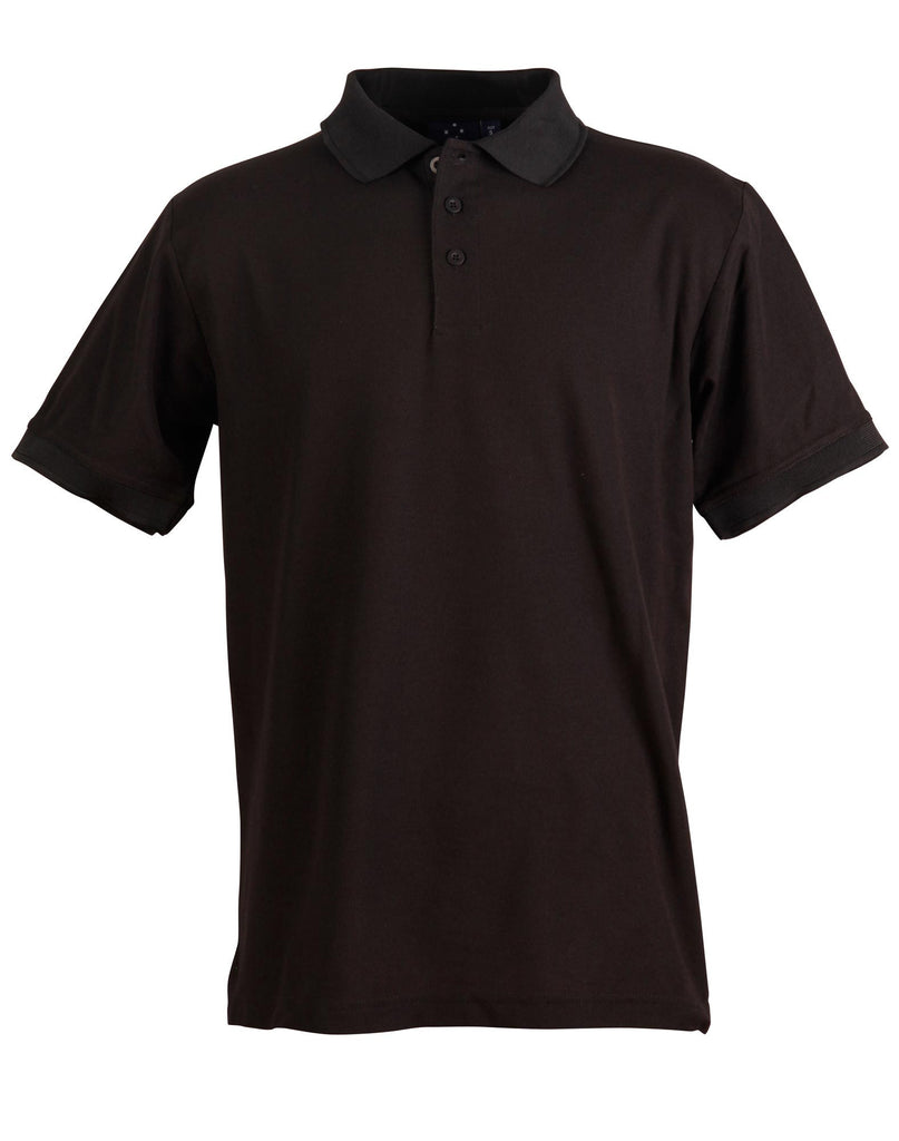 Winning Spirit-Winning Spirit Men's TrueDry® Solid Colour Pique Polo 1st (12 Colour)-Black / S-Uniform Wholesalers - 4