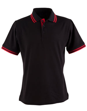 Winning Spirit-Winning Spirit Men's Grace Polo-S / Black/Red-Uniform Wholesalers - 3
