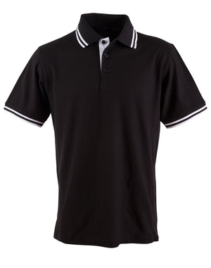 Winning Spirit-Winning Spirit Men's Grace Polo-S / Black/White-Uniform Wholesalers - 4
