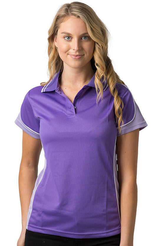 Be Seen-Be Seen Ladies Polo Shirt With Striped Collar 2nd( 7 Color )-Purple-Lavender-White / 8-Uniform Wholesalers - 1