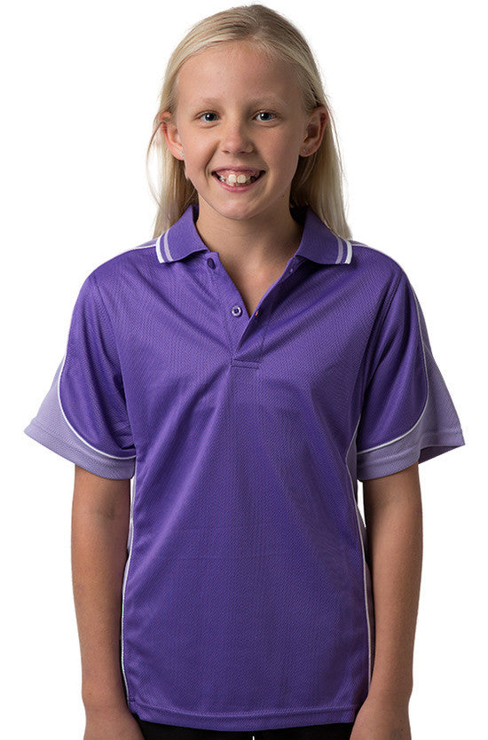 Be Seen-Be Seen Kids Polo Shirt With Striped Collar 4th(14 Color )-Purple-Lavender-White / 6-Uniform Wholesalers - 2