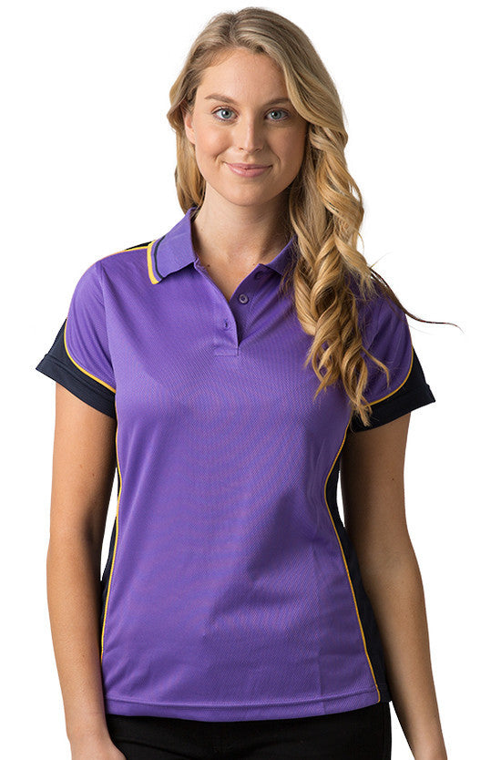 Be Seen-Be Seen Ladies Polo Shirt With Striped Collar 2nd( 7 Color )-Purple-Navy-Gold / 8-Uniform Wholesalers - 2