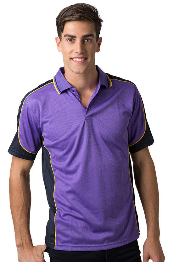 Be Seen-Be Seen Men's Polo Shirt With Striped Collar 5th( 6 Color )-Purple-Navy-Gold / XS-Uniform Wholesalers - 3