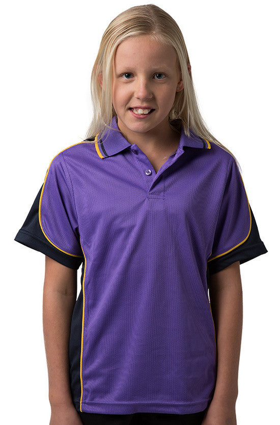 Be Seen-Be Seen Kids Polo Shirt With Striped Collar 4th(14 Color )-Purple-Navy-Gold / 6-Uniform Wholesalers - 3