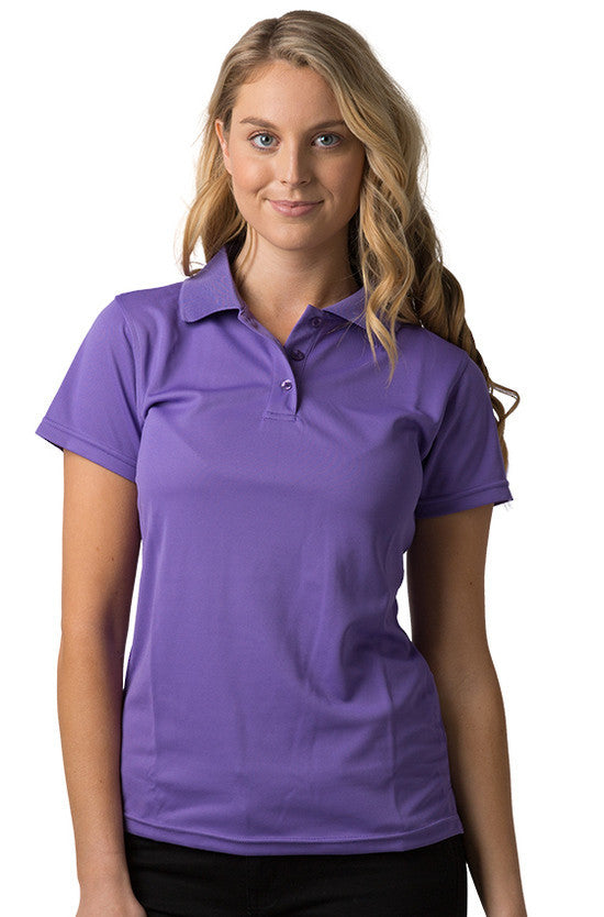 Be Seen-Be Seen Ladies Plain Polo Shirt With Herringbone Tape At Neck-Purple / 8-Uniform Wholesalers - 8