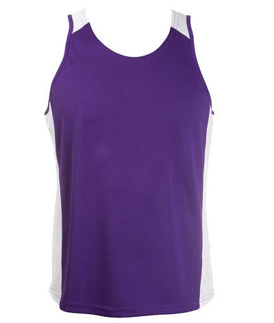 Australian Spirit-Aus Spirt Olympikool Mens Singlets 2nd ( 8 Colour )-Purple / White / S-Uniform Wholesalers - 5