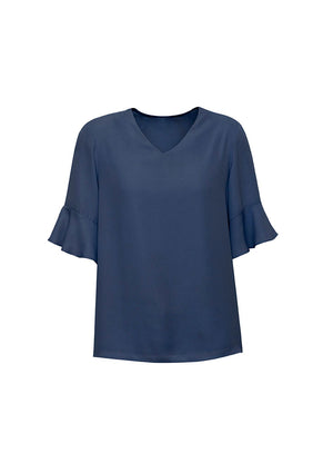 Biz Corporate Womens Aria Fluted Sleeve Blouse RB966LS