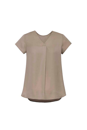 Biz Corporate Womens Kayla V-neck Pleat Blouse RB967LS