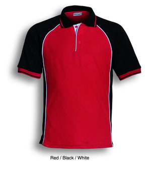 Bocini-Bocini Men's Panel Polo-Red/Black/White / S-Uniform Wholesalers - 4