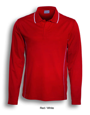Bocini-Bocini Kids Stitch Feature Essentials Long Sleeve Polo-Red/White / 4-Uniform Wholesalers - 5