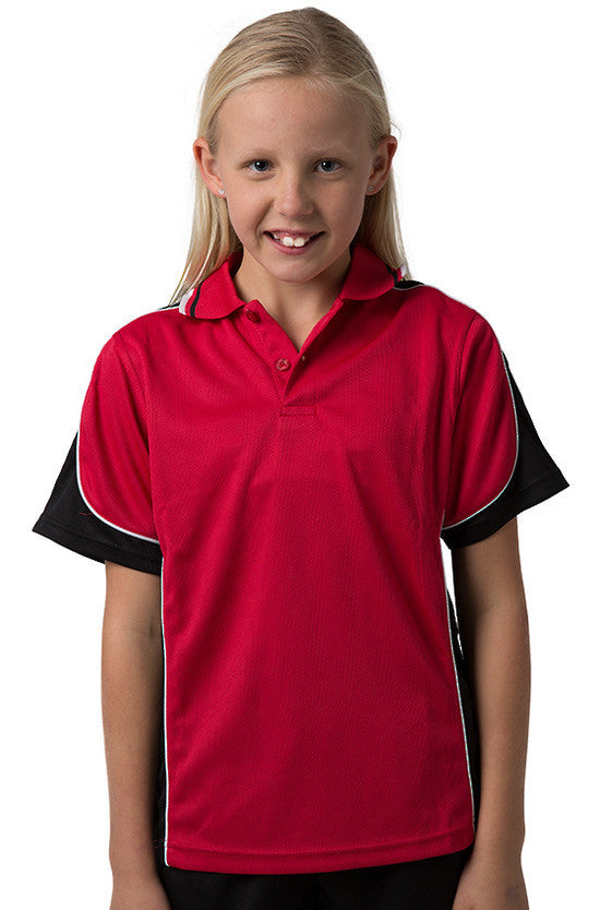 Be Seen-Be Seen Kids Polo Shirt With Striped Collar 4th(14 Color )-Red-Black-White / 6-Uniform Wholesalers - 4