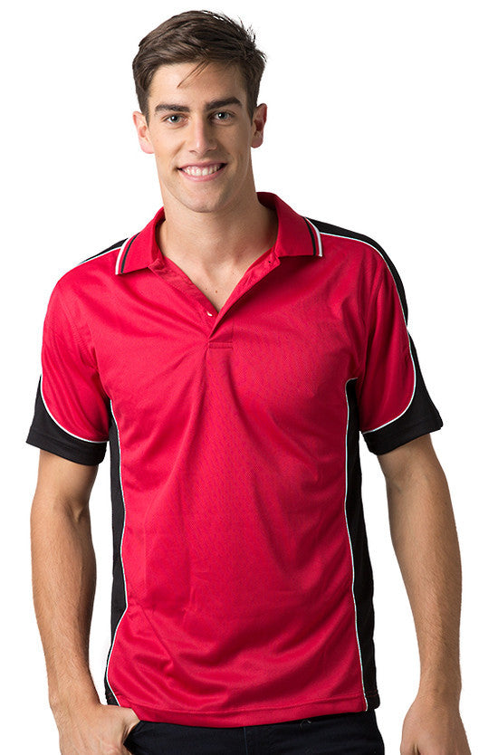 Be Seen-Be Seen Men's Polo Shirt With Striped Collar 5th( 6 Color )-Red-Black-White / XS-Uniform Wholesalers - 4