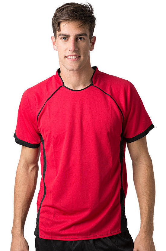 Be Seen-Be Seen Men's Polo Shirt With Pique Knit Body And Contrast 2nd( 7 Color )-Red-Black / XS-Uniform Wholesalers - 4