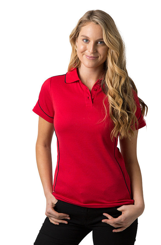 Be Seen-Be Seen Ladies Polo Shirt With Contrast Piping-Red-Black / 8-Uniform Wholesalers - 8