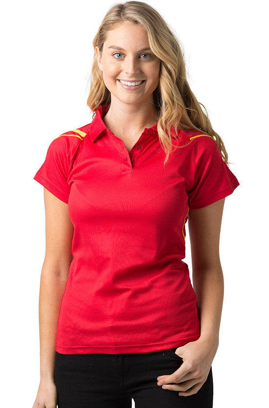 Be Seen-Be Seen Ladies Polo Shirt With Contrast Piping-Red-Gold / 8-Uniform Wholesalers - 5