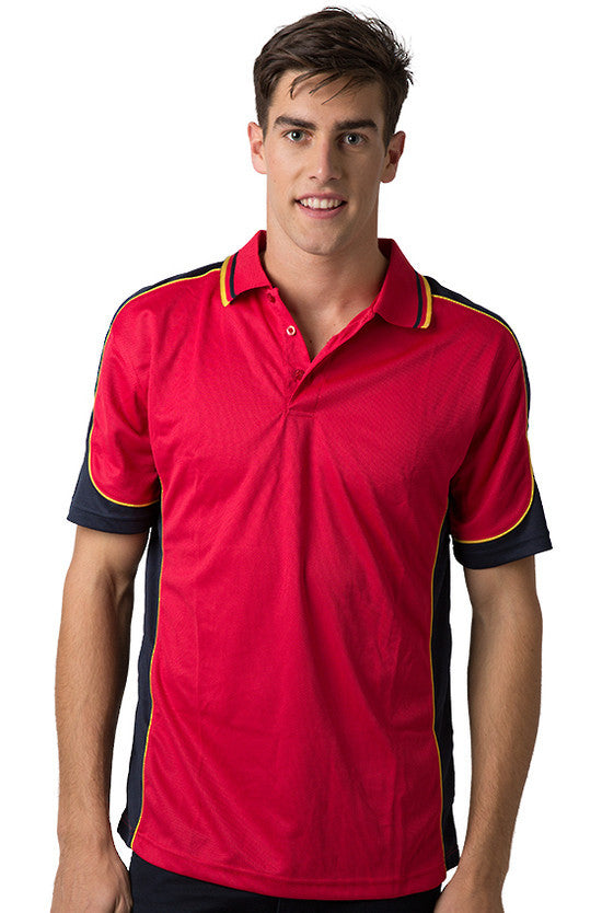 Be Seen-Be Seen Men's Polo Shirt With Striped Collar 5th( 6 Color )-Red-Navy-Gold / XS-Uniform Wholesalers - 5