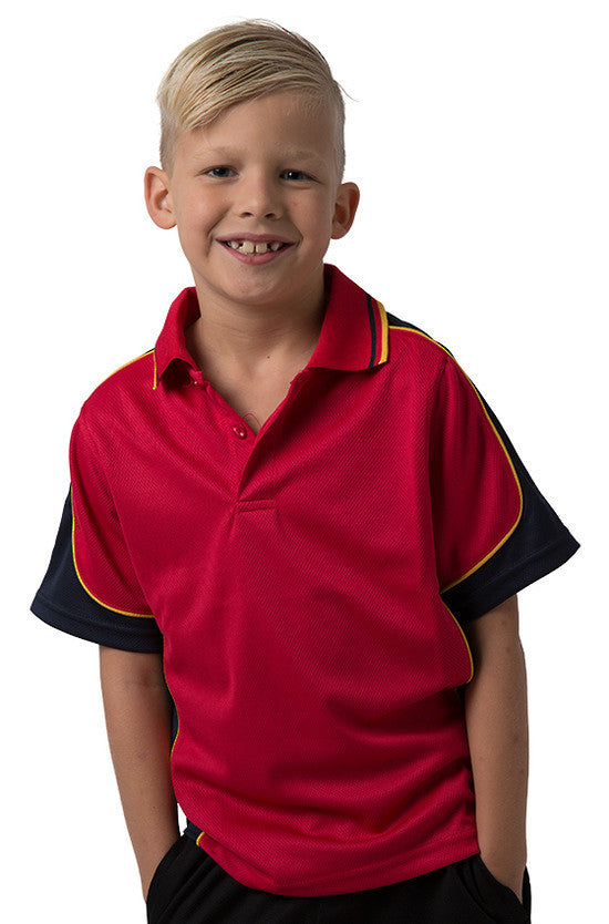 Be Seen-Be Seen Kids Polo Shirt With Striped Collar 4th(14 Color )-Red-Navy-Gold / 6-Uniform Wholesalers - 5