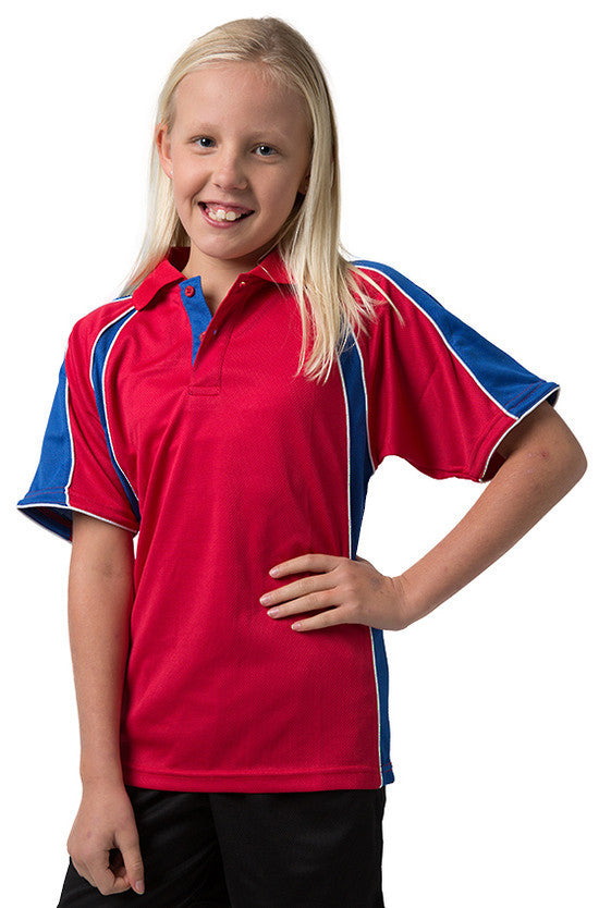 Be Seen-Be Seen Kids Polo Shirt With Contrast Sleeve Edge Piping-Red-Royal-White / 6-Uniform Wholesalers - 14