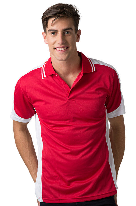 Be Seen-Be Seen Men's Polo Shirt With Striped Collar 5th( 6 Color )-Red-White-White / XS-Uniform Wholesalers - 6