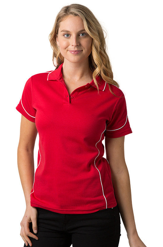 Be Seen-Be Seen Ladies Polo Shirt With Contrast Piping-Red-White / 8-Uniform Wholesalers - 9