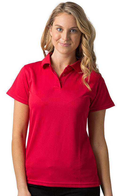 Be Seen-Be Seen Ladies Plain Polo Shirt With Herringbone Tape At Neck-Red / 8-Uniform Wholesalers - 9
