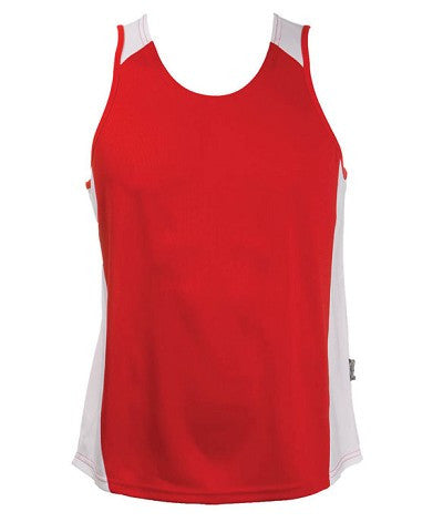 Australian Spirit-Aus Spirt Olympikool Mens Singlets 2nd ( 8 Colour )-Red / White / S-Uniform Wholesalers - 6