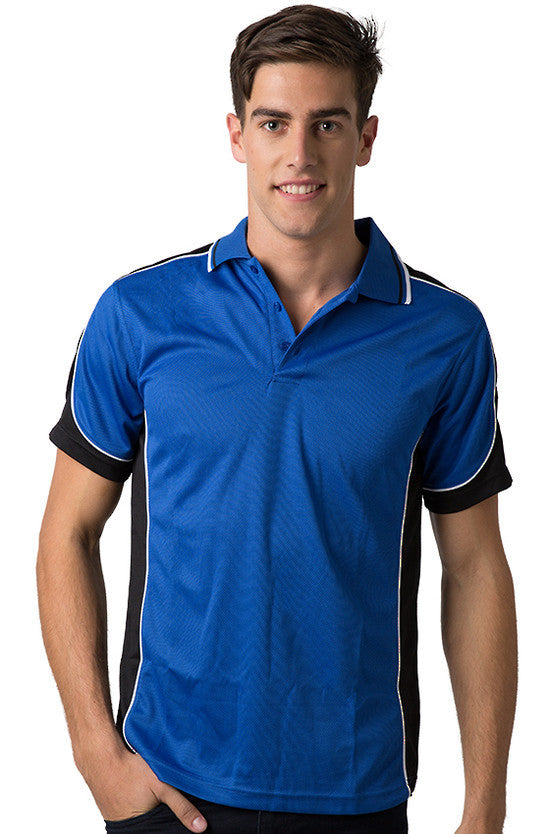 Be Seen-Be Seen Men's Polo Shirt With Striped Collar  6th( 8 Color )-Royal-Black-White / XS-Uniform Wholesalers - 2