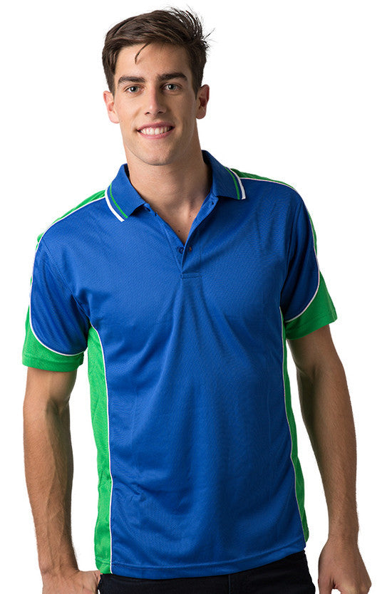 Be Seen-Be Seen Men's Polo Shirt With Striped Collar  6th( 8 Color )-Royal-Emerald-White / XS-Uniform Wholesalers - 3