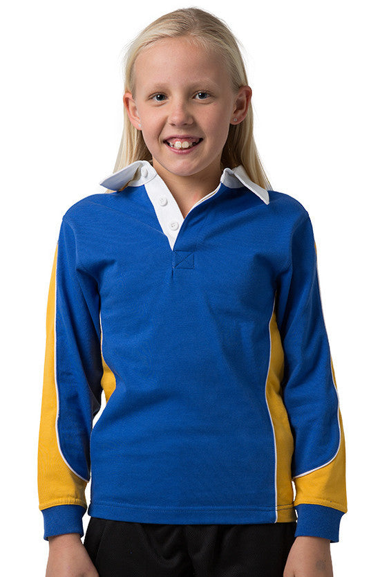 Be Seen-Be Seen Kids Knit Rugby Jersey-Royal-Gold-White / 6-Uniform Wholesalers - 12