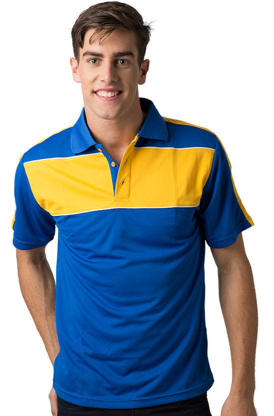 Be Seen-Be Seen Men's Polo With Contrast Shoulder-Royal-Light Gold-White / XS-Uniform Wholesalers - 9
