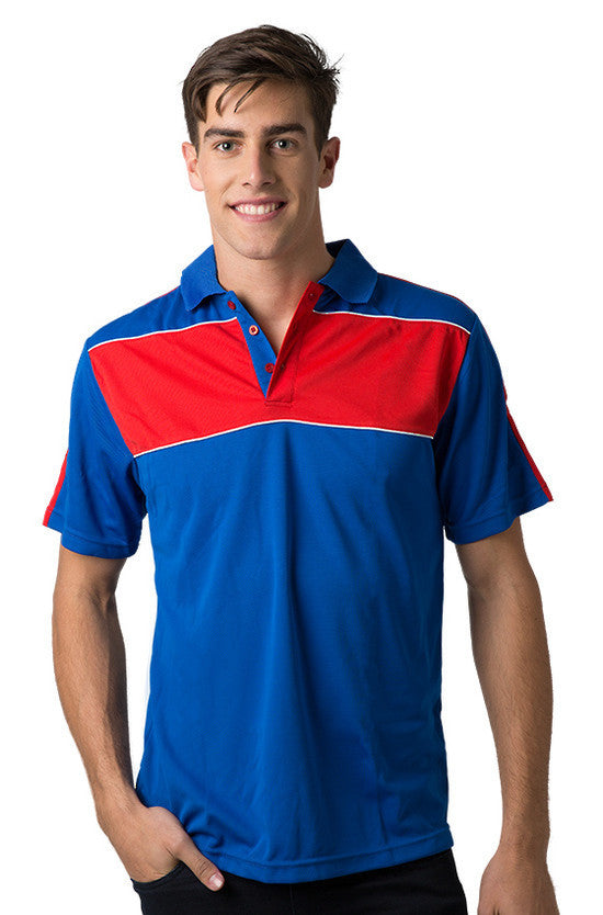 Be Seen-Be Seen Men's Polo With Contrast Shoulder-Royal-Red-White / XS-Uniform Wholesalers - 10
