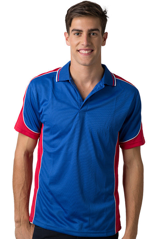 Be Seen-Be Seen Men's Polo Shirt With Striped Collar  6th( 8 Color )-Royal-Red-White / XS-Uniform Wholesalers - 5