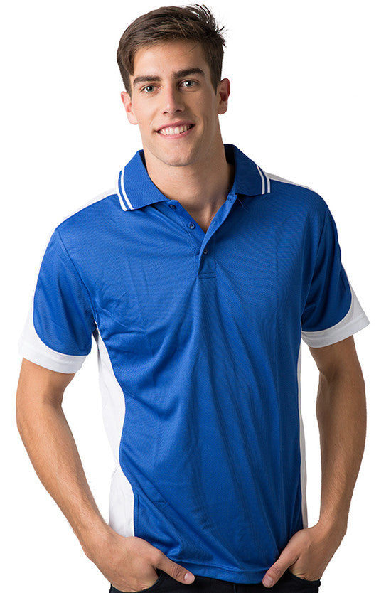 Be Seen-Be Seen Men's Polo Shirt With Striped Collar  6th( 8 Color )-Royal-White-White / XS-Uniform Wholesalers - 7