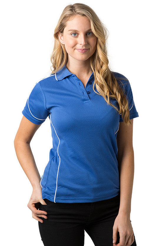Be Seen-Be Seen Ladies Polo Shirt With Contrast Piping-Royal-White / 8-Uniform Wholesalers - 10