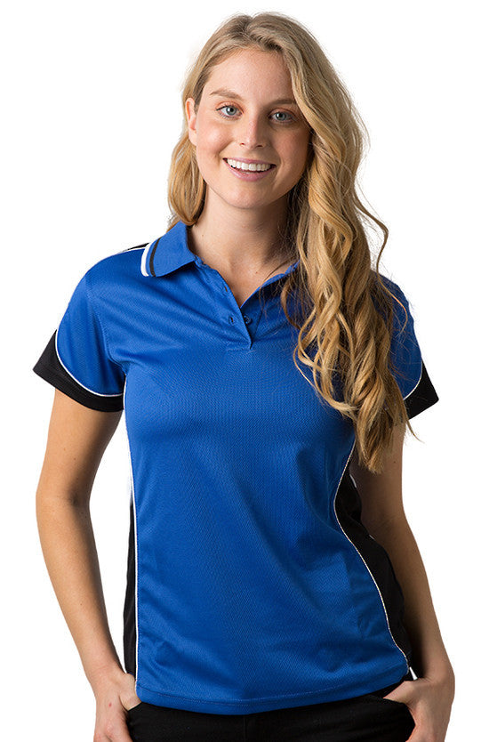 Be Seen-Be Seen Ladies Polo Shirt With Striped Collar 2nd( 7 Color )-Royal- Black-White / 8-Uniform Wholesalers - 3