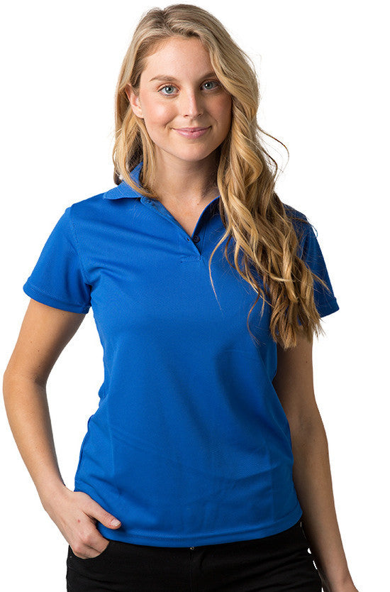 Be Seen-Be Seen Ladies Plain Polo Shirt With Herringbone Tape At Neck-Royal / 8-Uniform Wholesalers - 10
