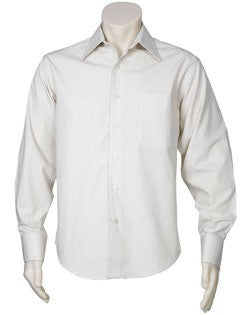 Biz Collection-Biz Collection Mens Metro Long Sleeve Shirt-STONE / S-Uniform Wholesalers - 11