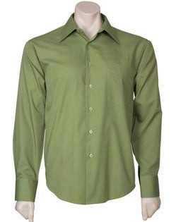 Biz Collection-Biz Collection Mens Metro Long Sleeve Shirt-LIGHT GREEN / 2XL-Uniform Wholesalers - 7